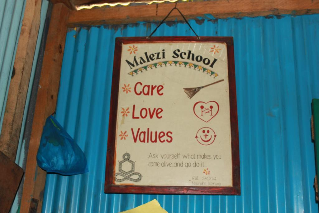 A sign in the Malezi school