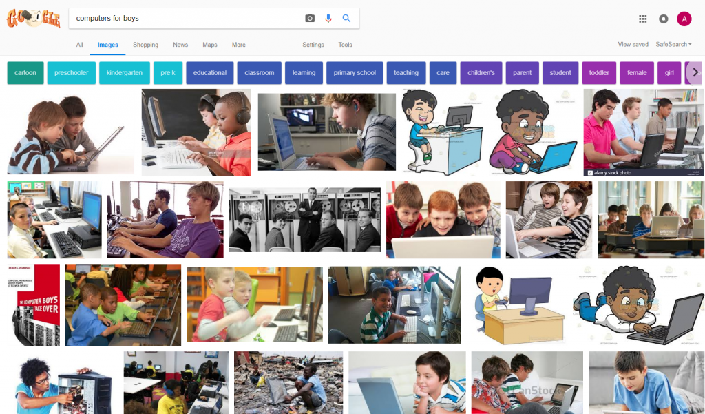 A search for computers for boys, showing many boys using computers