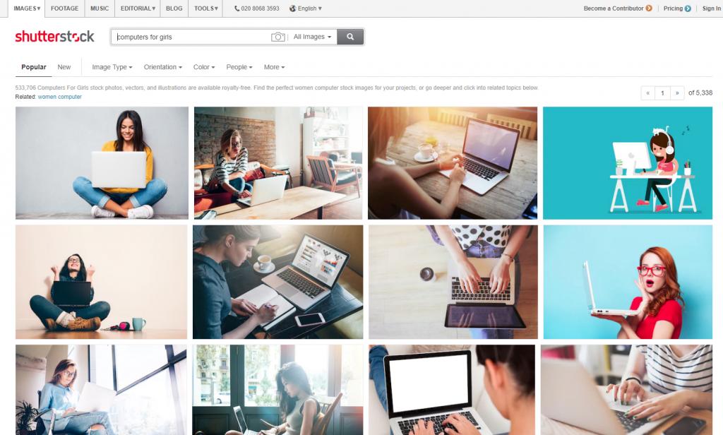 Shutterstock search for computers for girls